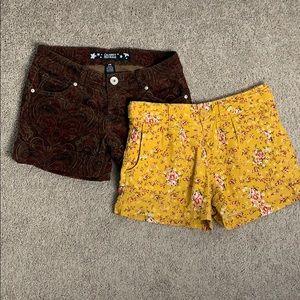 Corduroy shorts set of 2